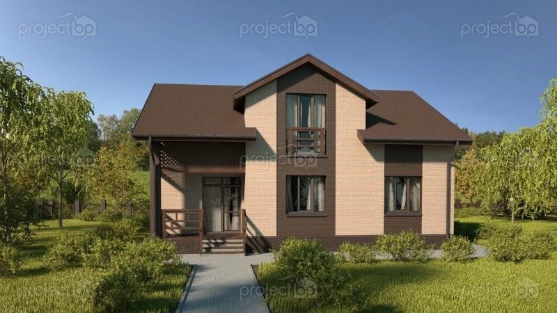 Проект широкого дома с мансардой и мезонином 150-A